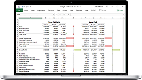 Budget and Forecast With Data Bars created in Microsoft Excel by Joshua Wilson Consulting